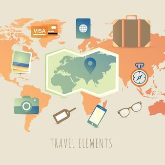 Reiseelemente mit flachem design