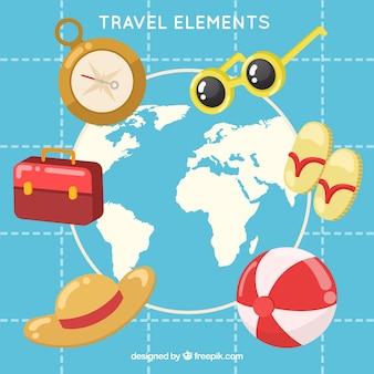 Reiseelementsammlung mit flachem design