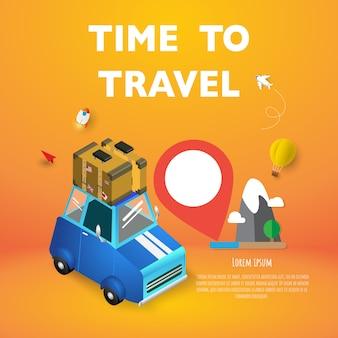 Reiseferien-ferienkoffer bereit zum abenteuerkonzeptplakat, fahnenblauauto.