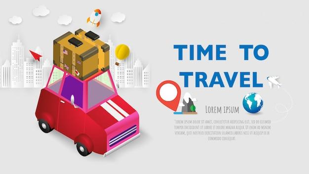 Reiseferien-ferienkoffer bereit zum abenteuerkonzeptplakat, fahnenrotauto