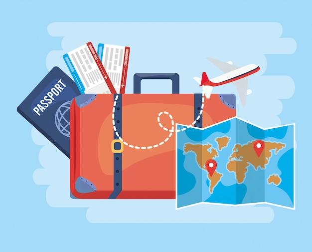 Reisegepäck mit weltkarte und reisepass