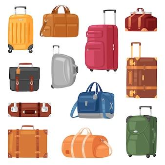 Reisegepäckgepäckkoffer für reiseurlaubstourismus-illustrationssatz von reisegepäck- und tourabenteuerkoffer oder handtasche für touristen auf weißem hintergrund