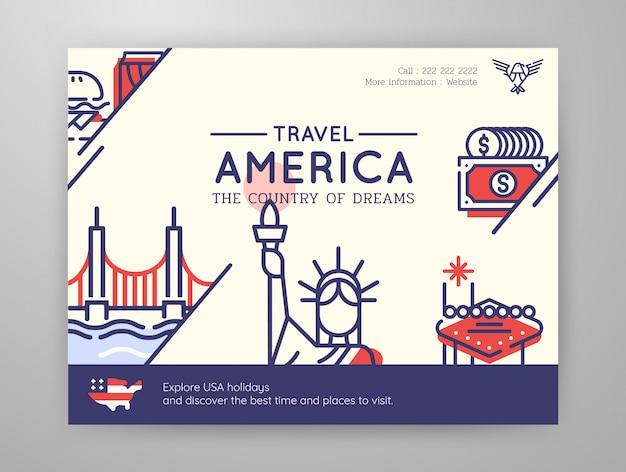 Reisegraphik der vereinigten staaten von amerika