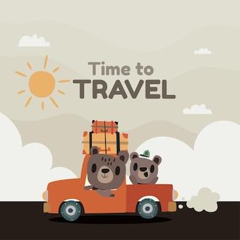 Reisehintergrund im flachen stil mit niedlicher illustration