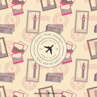 Reisehintergrund mit briefmarken