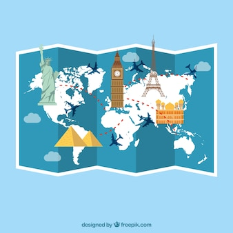 Reisehintergrund mit gefalteter karte