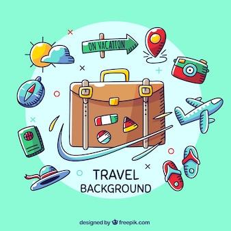 Reisehintergrund mit verschiedenen elementen