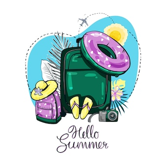 Reisehintergrund. urlaub am meer. handgezeichnete illustration mit kalligraphie hallo sommer.