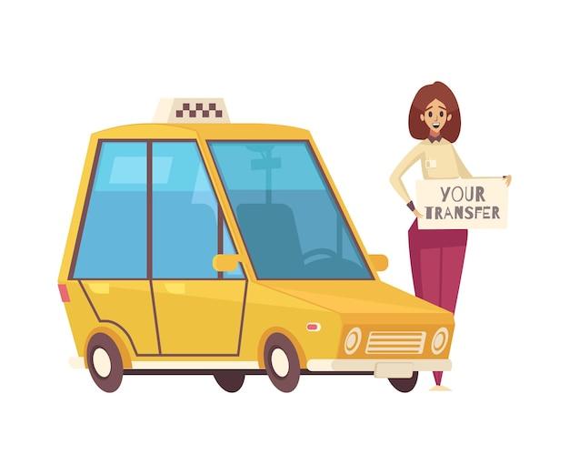 Reisehoteltransferkarikatur mit taxi und lächelnder frauenillustration