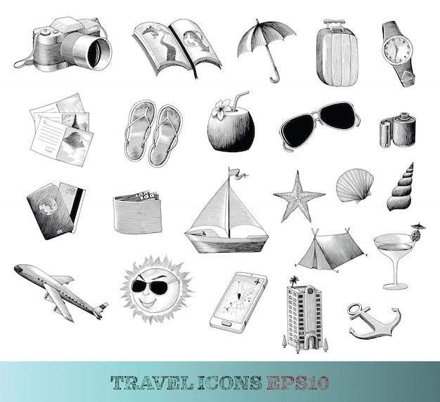Reiseikonen setzen handzeichnung vintage-stil schwarz und weiß, isoliert.