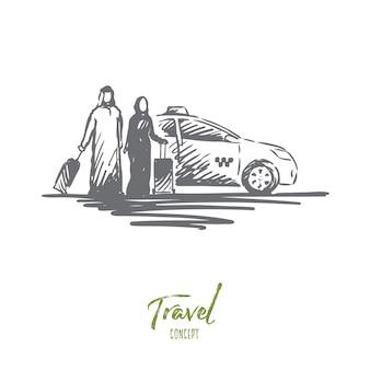 Reiseillustration in der hand gezeichnet