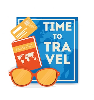 Reiseillustration mit reisepass und sonnenbrille