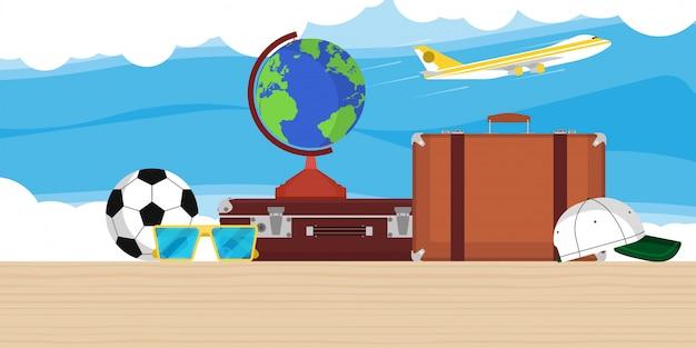 Reiseillustrationshintergrund mit kugel, flugzeug, tasche und wolken. flache flugzeugtourismus-ferienweltreise. sommer tour abenteuer banner cruise card