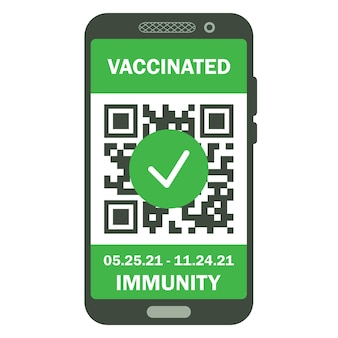 Reiseimmuner reisepass im handy. covid-19-immunitätszertifikat für sicheres reisen oder einkaufen. elektronischer gesundheitspass mit qr-code. immunität digitales dokument gegen coronavirus