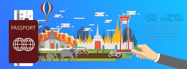 Reiseinfografik thailand infografik, pass mit wahrzeichen von bangkok