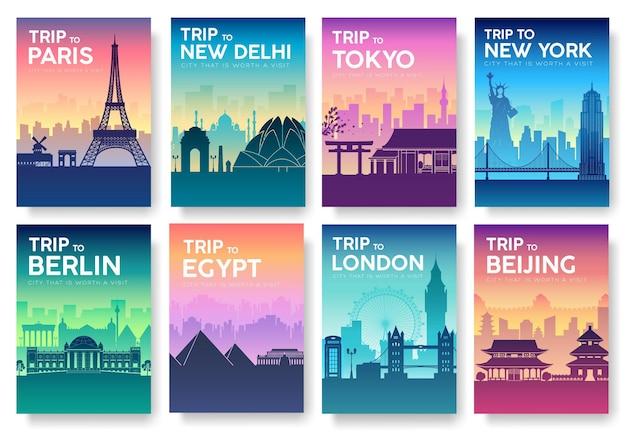 Reiseinformationskarten. landschaftsvorlage von flyear, zeitschriften, plakaten, buchumschlag, fahnen.