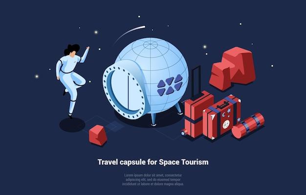 Reisekapsel für weltraumtourismus-illustration