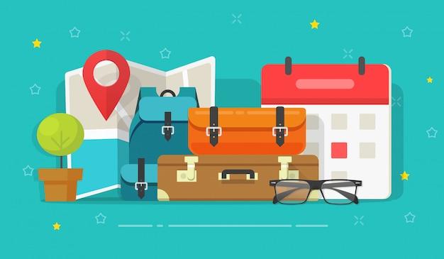 Reisekarte mit reisegepäck oder reisezielplanung und planmäßiger datumsillustration flacher cartoon