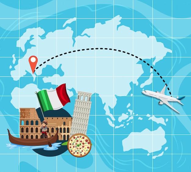 Reisekarte nach italien