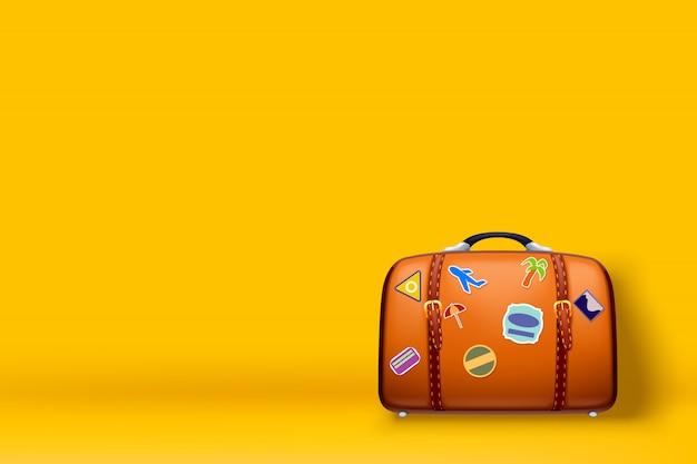 Reisekoffer auf gelb