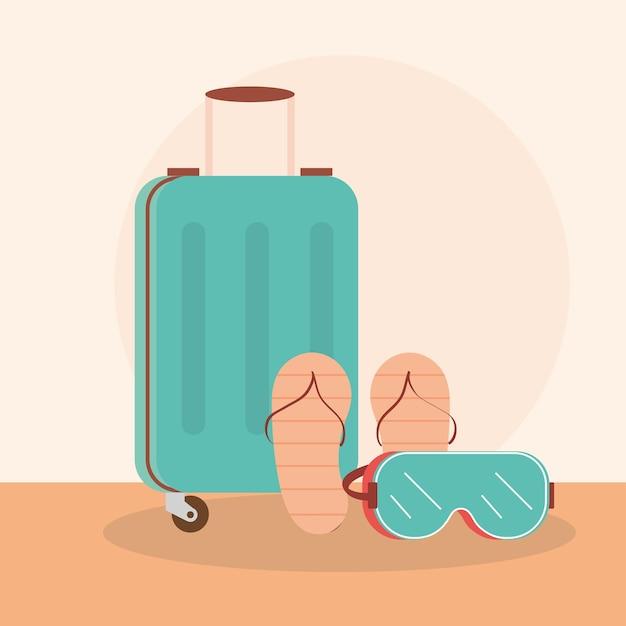 Reisekoffer, flip flops und schutzbrille