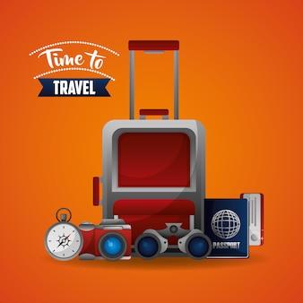 Reisekoffer karte fahrkarte kompass und fernglas