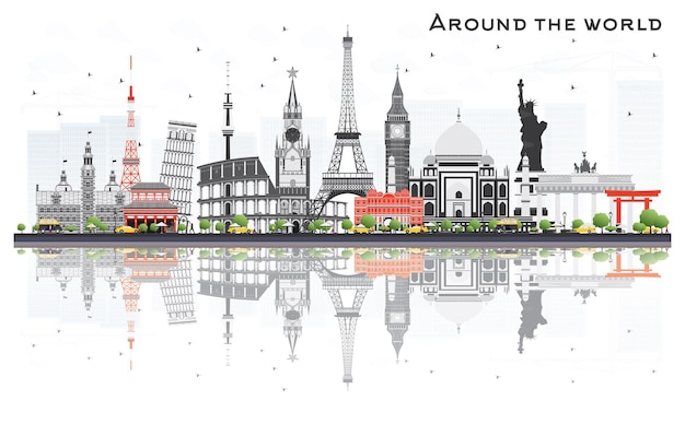 Reisekonzept auf der ganzen welt mit berühmten internationalen wahrzeichen. vektor-illustration. geschäfts- und tourismuskonzept. bild für präsentation, plakat, banner oder website.