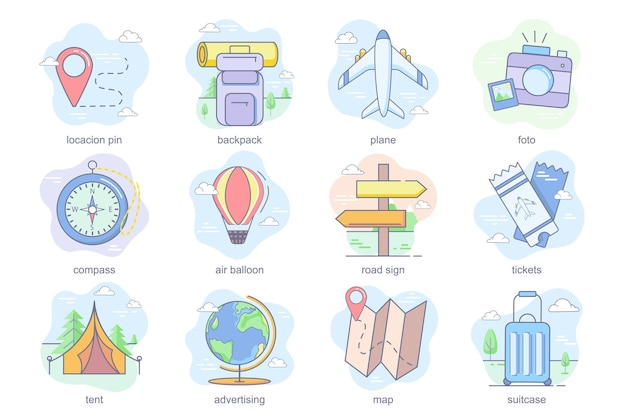 Reisekonzept flache ikonen set bündel standort pin rucksack flugzeug foto kompass luftballon straße s...
