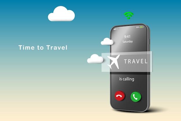 Reisekonzept fördern. reiseanrufe auf dem smartphone. flugzeug auf dem bildschirm des mobiltelefons. zeit zu reisen. online-buchung für flugtickets.