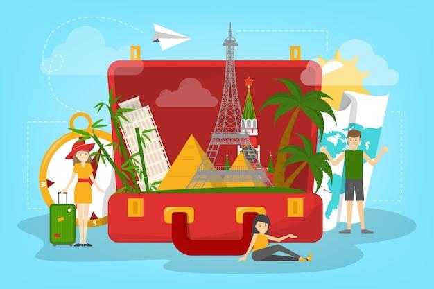 Reisekonzept. idee des tourismus auf der ganzen welt. urlaub