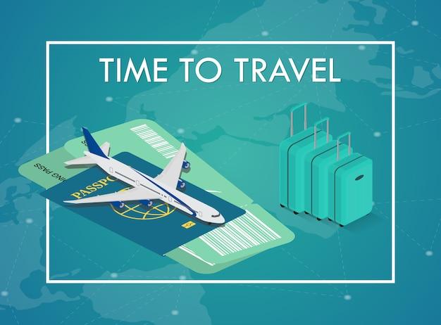 Reisekonzept im isometrischen stil. reisepass, tickets, taschen und flugzeug. reiseausrüstung.
