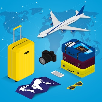 Reisekonzept im isometrischen stil zeit zu reisen. reisepass, tickets, taschen und flugzeug. reiseausrüstung.