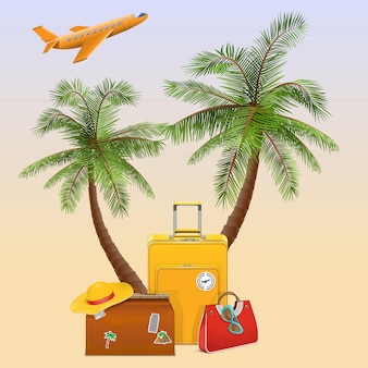 Reisekonzept mit palme lokalisiert auf hintergrund