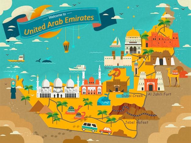 Reisekonzeptkarte der vae mit attraktionen und spezialitäten