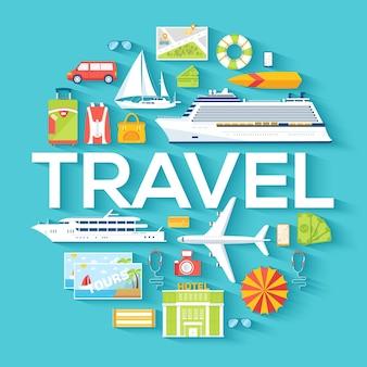 Reisekreis infografiken vorlage konzept