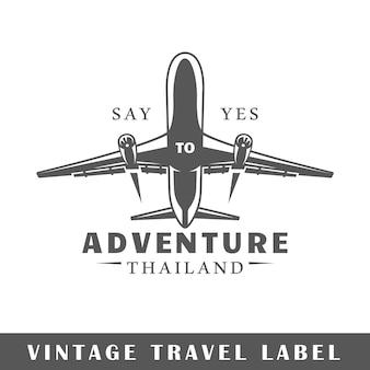 Reiselabel lokalisiert auf weißem hintergrund. element. vorlage für logo, beschilderung, branding.