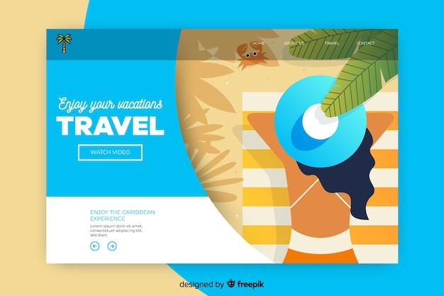 Reiselandungsseite mit draufsichtfrau am strand