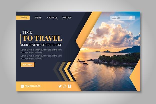 Reiselandungsseitenschablone mit foto