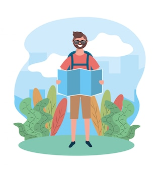 Reisemann, der sonnenbrille mit globaler karte und rucksack trägt