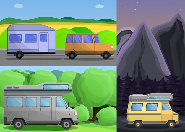 Reisemobil-banner-set, cartoon-stil