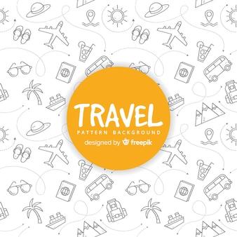 Reisemuster mit elementen und gestrichelten linien