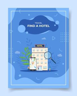 Reisen finden sie ein hotel menschen um smartphone karte zeiger position in bildschirm display hotelgebäude