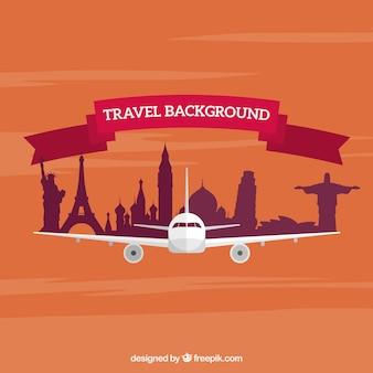 Reisen hintergrund mit flugzeug und denkmäler in flaches design