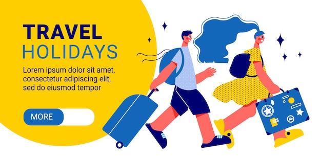Reisen horizontales banner mit zeichen landing page