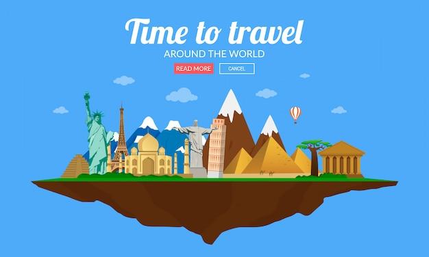 Reisen in die ganze welt, tourismus. wahrzeichen auf dem globus. vektorillustration.