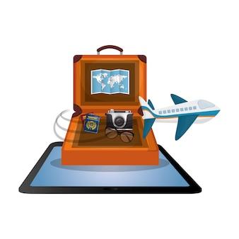 Reisen koffer handy karte kamera flugzeug