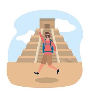 Reisen mann mit sonnenbrille mit rucksack und tempel inschrift