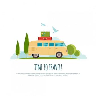 Reisen mit dem auto, weltreisen, reisen, sommerreisen, tourismusillustration