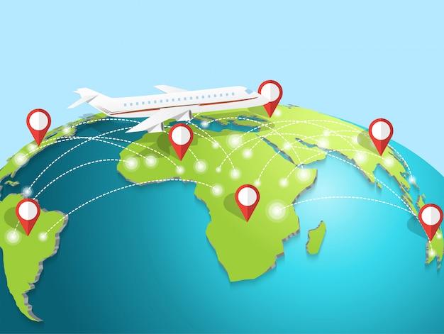 Reisen mit dem flugzeug rund um den globus