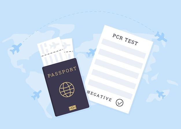 Reisen mit flugtauglichkeitsbescheinigung. covid-pcr-test. ein reisepass mit tickets und coronavirus-test
